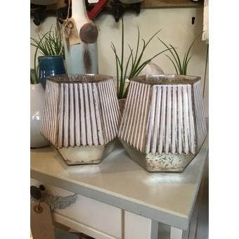 Theelichhouder 6-kantig glas