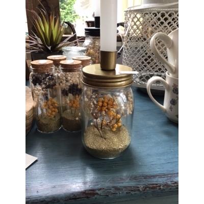 Glazen pot met kaarsenhouder