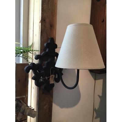 Wand lamp zwart ornament